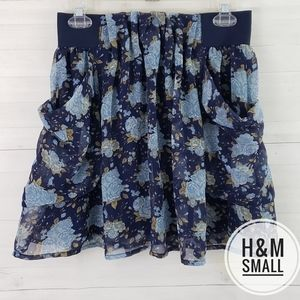 Small H&M Blue Floral Skirt